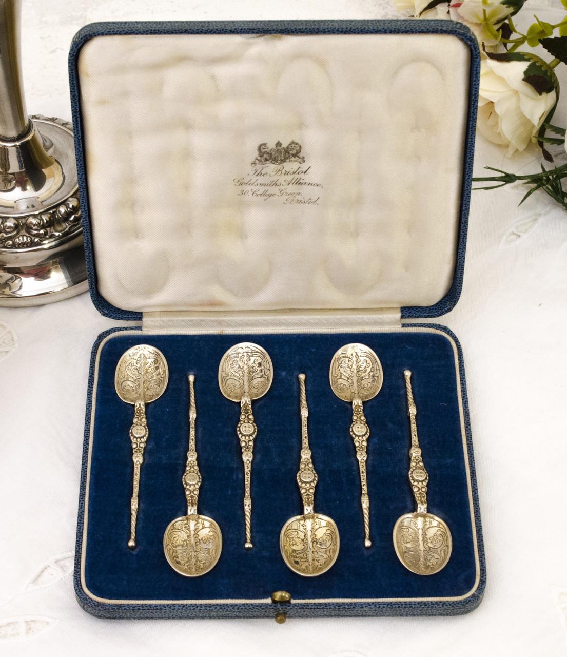Антикварные серебряные ложки, Wakely & Wheeler LTD, Англия, London, 1936