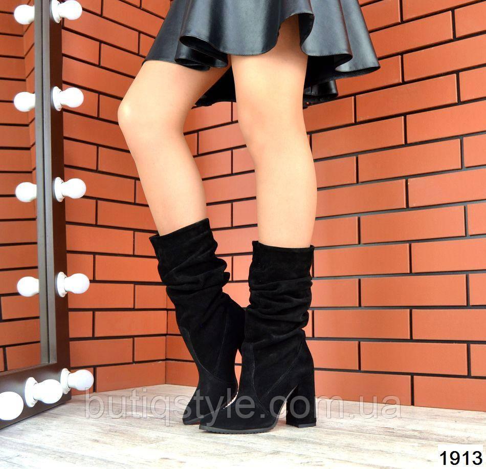 Женские черные сапоги на каблуке натуральная замша деми