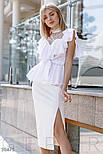 Легкая женская блуза с воланом и прозрачной кокеткой белая, фото 2
