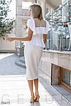 Легкая женская блуза с воланом и прозрачной кокеткой белая, фото 4
