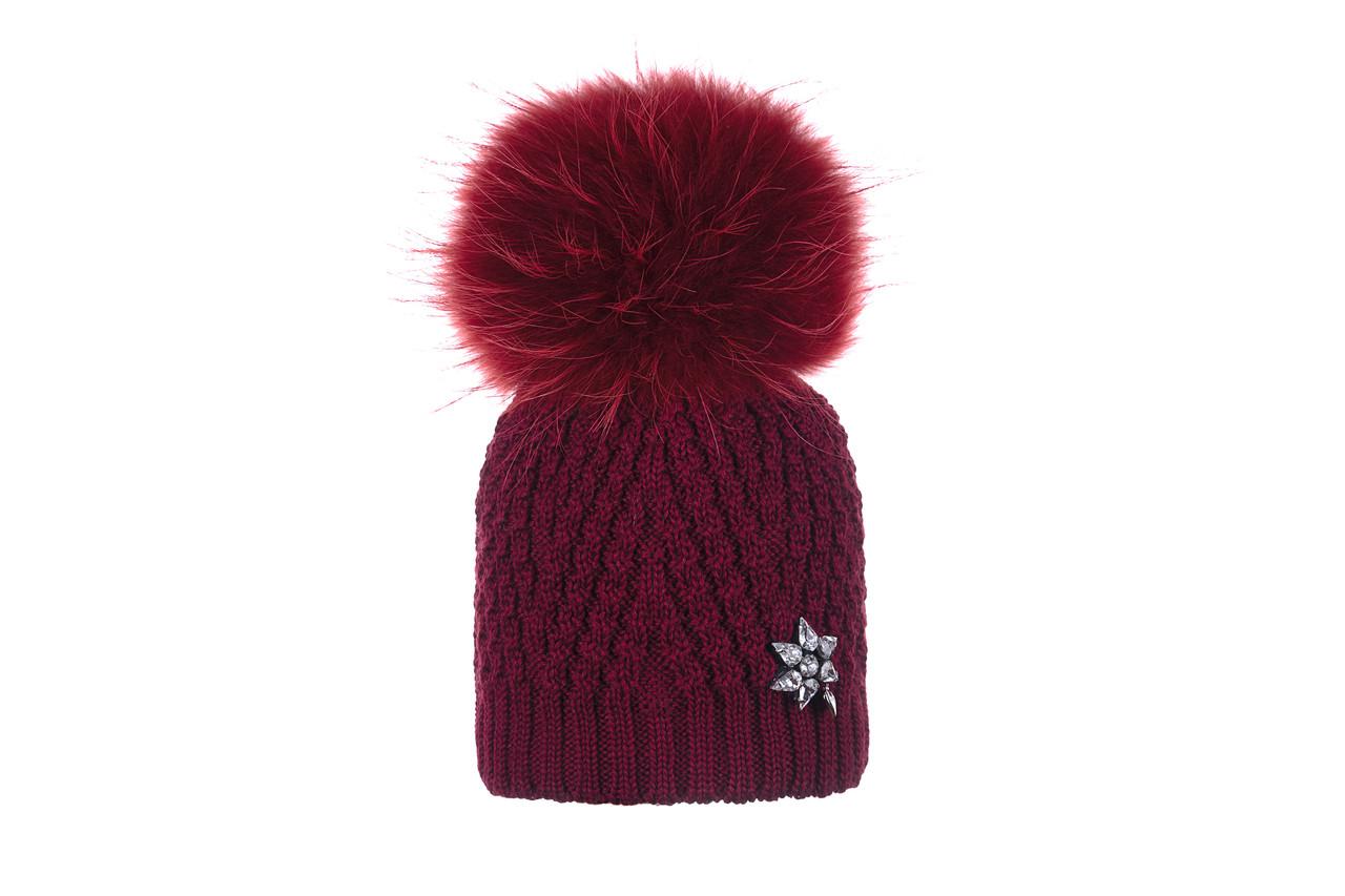 Зимняя шапка для девочки с натуральным помпоном GIAMO  (р. 50-56)  BRG01 бордовая