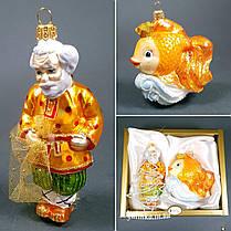 Набор стеклянных елочных игрушек Золотая рыбка Irena, фото 3