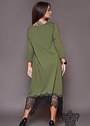 / Размер 50-52,54-56,58-60,62-64 / Женское асимметрия платье 31014 / цвет хаки, фото 2