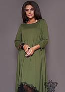 / Размер 50-52,54-56,58-60,62-64 / Женское асимметрия платье 31014 / цвет хаки, фото 3