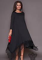 / Размер 50-52,54-56,58-60,62-64 / Женское асимметрия платье 31013 / цвет черный