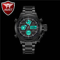 Часы военные AMST 3003 (Кварц) Black Steel, фото 1