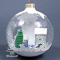 Стеклянный шар на елку Зимняя сказка 2020 ручная работа диаметр 100 мм М-100