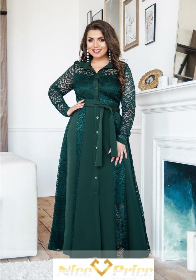 Нарядное зеленое платье с гипюром 50-64р
