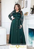 Нарядное зеленое платье с гипюром 50-64р, фото 1