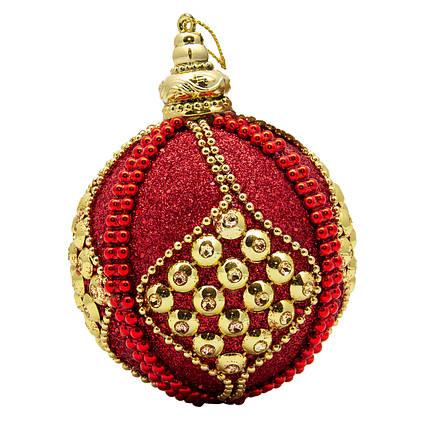 Елочная игрушка - шар, D8,5 см, красный, пенопласт, пластик (661435-3)