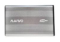 """Карман зовнішній для HDD/SSD 2,5"""" Maiwo SATA ч/з USB2.0 на гвинтах (алюм., срібний), фото 1"""