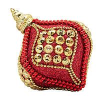 Елочное украшение в форме луковицы, красный, золото (661435-7)