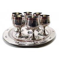 Набор рюмок с подносом (набор 6 шт*70 мл) бронзовые с хромом