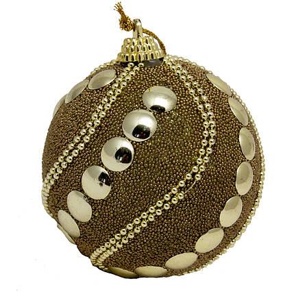 Елочная игрушка - шар, D8,5 см, золотистый, пенопласт, пластик (661442-2)