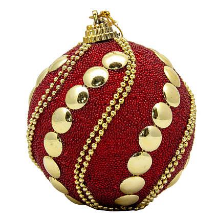 Елочная игрушка - шар, D8,5 см, красный, золотистый, пластик, пенопласт (661442-3)