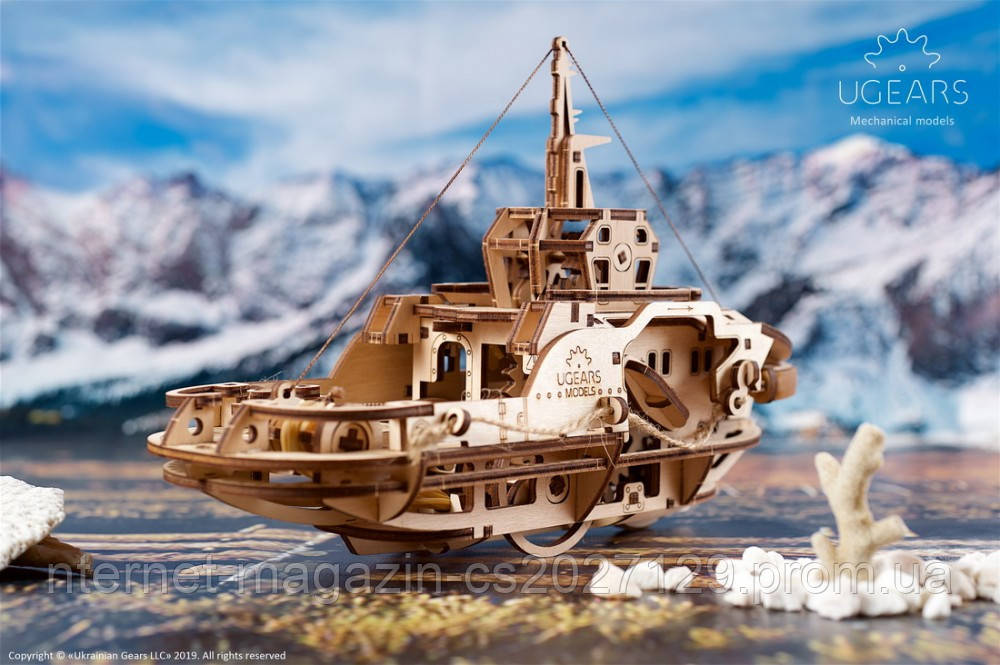 Деревянный конструктор-пазлы судно «Буксир»