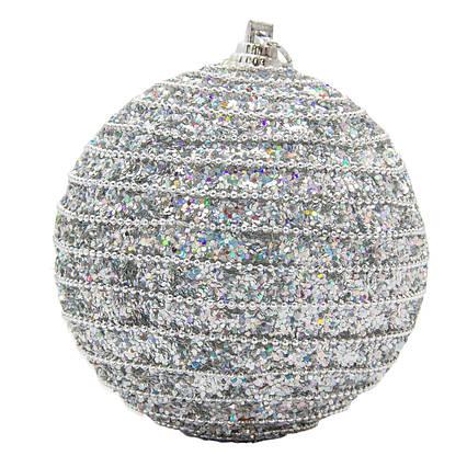 Елочная игрушка - шар с блестками, D8,5 см, серебристый, пластик, пенопласт (661459-1)