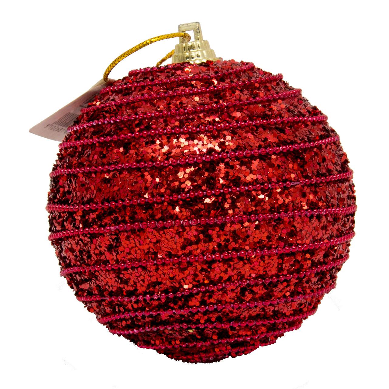 Елочное украшение в форме шара, красный (661459-2)