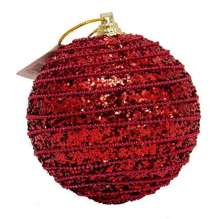 Елочная игрушка - шар, D8,5 см, красный, пенопласт (661459-2)