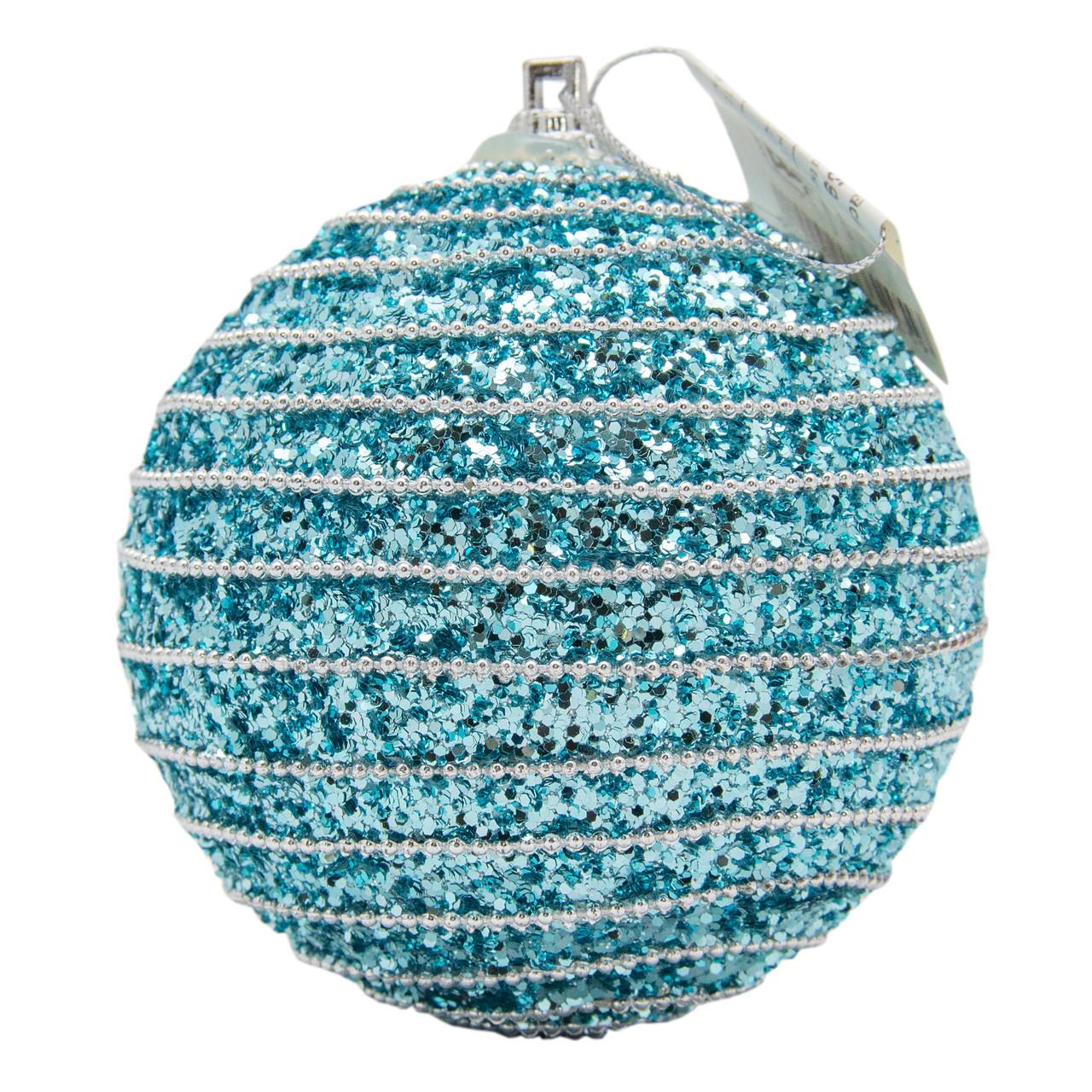 Елочное украшение в форме шара, голубой (661459-3)