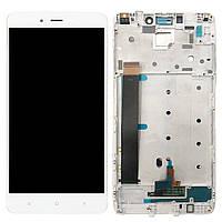Дисплей (экран) для телефона Xiaomi Redmi Note 4 MediaTek + Touchscreen with frame (copy) White