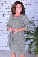 Женское платье футляр до колена в клетку с поясом