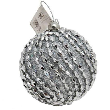 Елочная игрушка - шар, D 8,5 см, серебристый, пенопласт, пластик (661473-1)