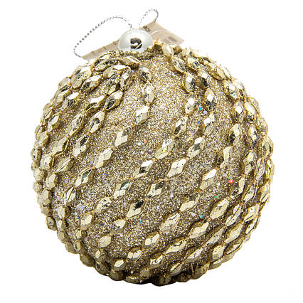 Новогодняя игрушка - шар, D8,5 см, золотистый, пенопласт, пластик (661473-2)