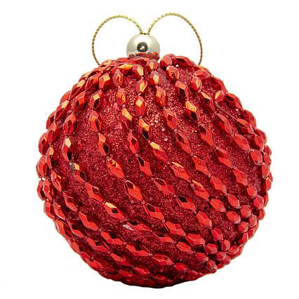 Елочная игрушка - шар, D8,5 см, красный, пенопласт, пластик (661473-3)