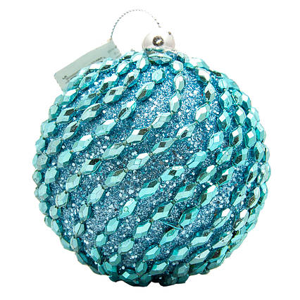 Елочная игрушка - шар, D 8,5 см, голубой, пенопласт, пластик (661473-4)