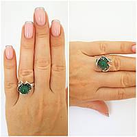 Серебряное кольцо 925 проба с натуральным нефритом черненое