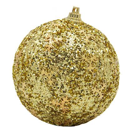 Елочная игрушка - шар, D 8,5 см, золотистый, пенопласт, пластик (661480-1)