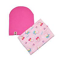 Комплект на флисе шапка и шарф-хомут с принтом Свинка Пеппа