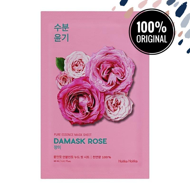 Тканинна маска для обличчя з маслом дамаської троянди HOLIKA HOLIKA Essence Pure Mask Sheet Damaskrose