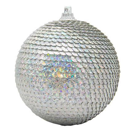 Елочная игрушка - шар, D 8,5 см, серебристый, пластик, пенопласт (661497-1)