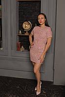 Твидовое платье розовое