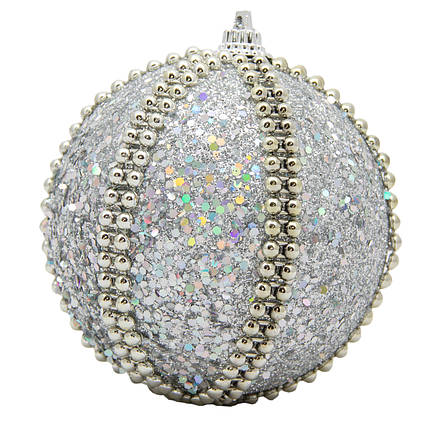 Елочная игрушка - шар, D 8,5 см, серебристый, пенопласт, пластик (661503-1)