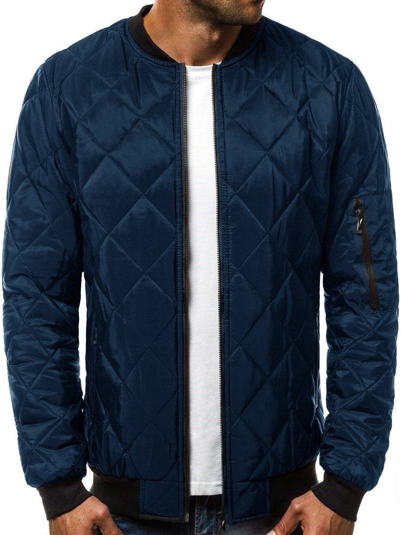 Куртка мужская стеганая Ромбик синего цвета с карманом на рукаве