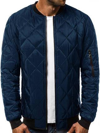 Куртка мужская стеганая Ромбик синего цвета с карманом на рукаве, фото 2