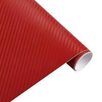 Карбоновая плёнка красная 3D 127 х 30 см (z05243)