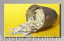 "Картина на холсте ""  Доллары 1  '' ( 32x54 см )"