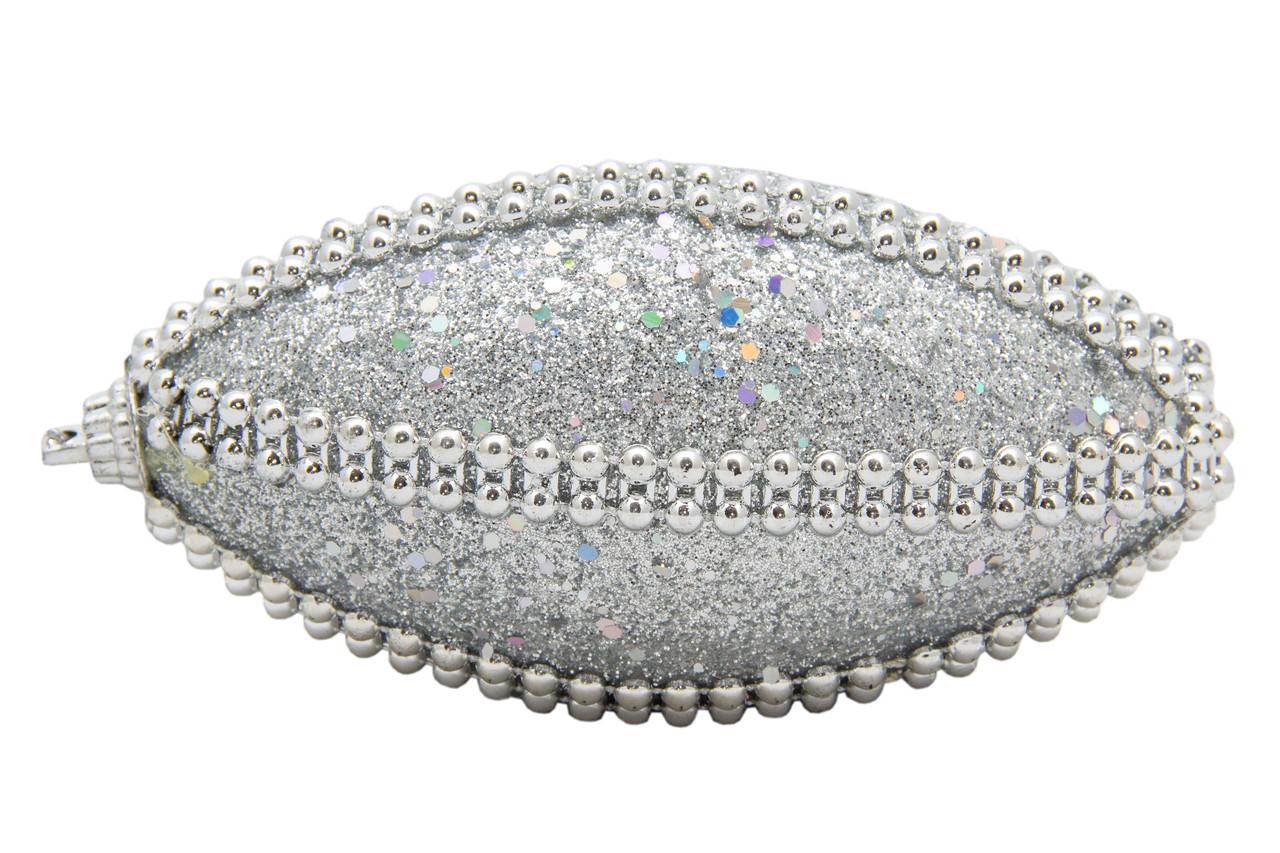 Елочная игрушка в форме оливы, серебро 12 см. (661503-3)