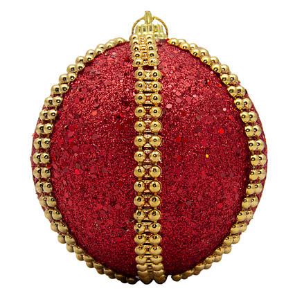 Елочная игрушка - шар, D8,5 см, красный, пенопласт, пластик (661503-7)