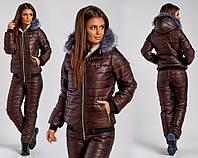Лыжный зимний теплый спортивный костюм GB, стеганый синтепон женский, шоколад дутый куртка на овчине и брюки