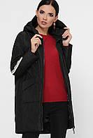 Черная Куртка стильная женская демисезонная в стиле ветровки на биопухе 42-50