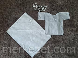 Крыжма. Полотенце с капюшоном, комплект для крещения. Крижмо «Золотой Ефир». Крещение ребенка