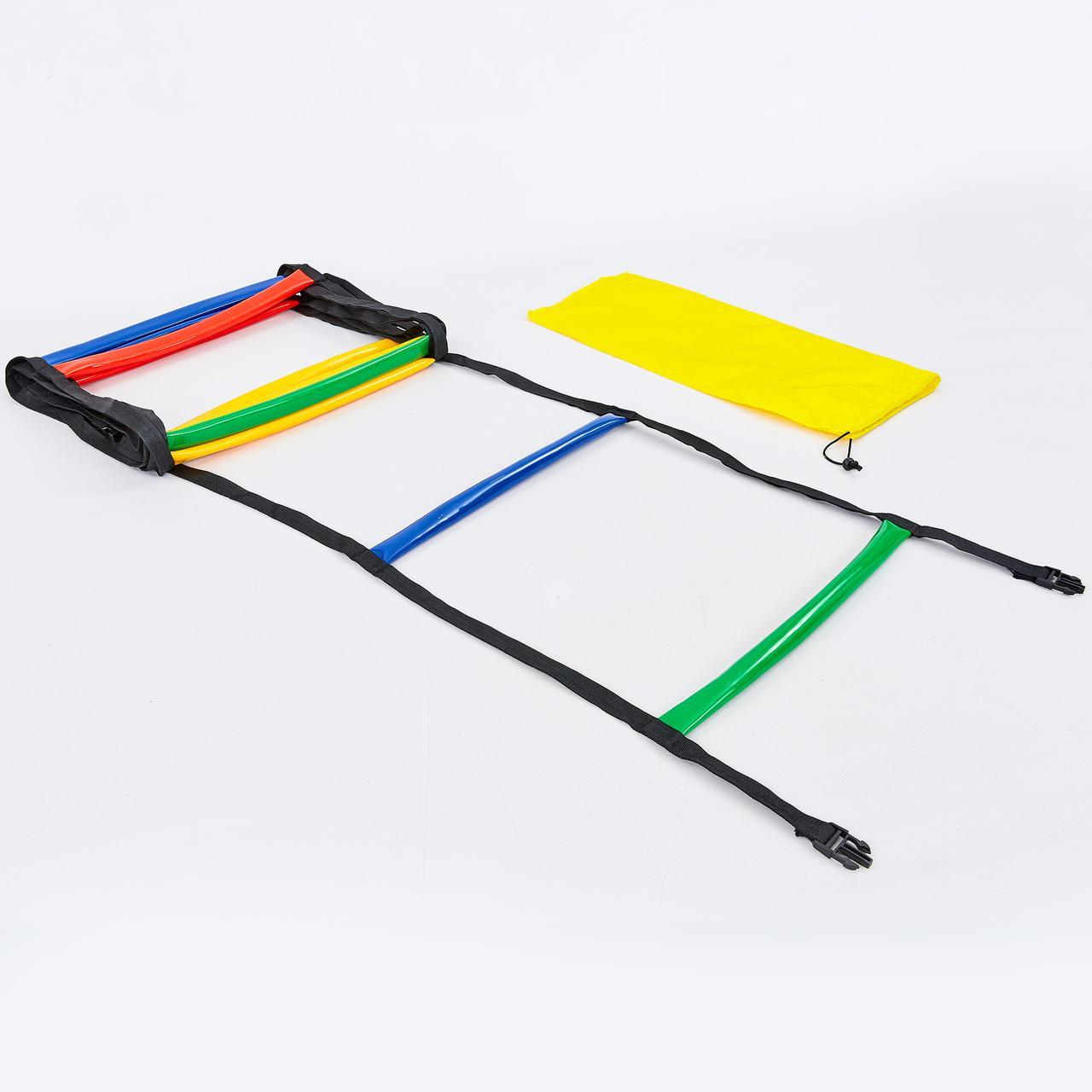 Координационная лестница-дорожка с барьерами мягкая 6м - 12 перекладин (PVC) для тренировки скорости