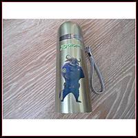 Детский термос для напитков и чая с клапаном Зверополис золотистый 350мл