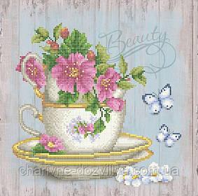 """Схема для вышивки бисером на атласе """"Цветочный чай"""""""