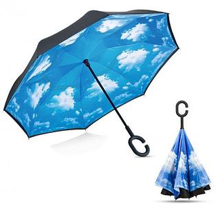 Ветрозащитный зонт Up-Brella антизонт Зонт обратного сложения (Облака)